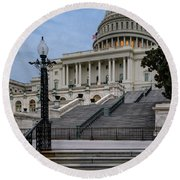 Round Beach Towel featuring the photograph Us Capitol Building Twilight by Susan Candelario
