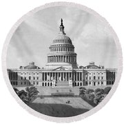 Us Capitol Building Round Beach Towel by War Is Hell Store