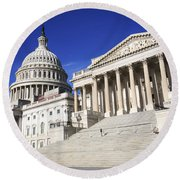 Us Capitol Up Close In Washington Dc Round Beach Towel