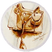 Us Cavalry Saddle 1869 Round Beach Towel by Padre Art