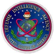 U. S. Defense Intelligence Agency - D I A Emblem Over Flag Round Beach Towel