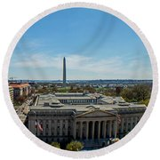 Round Beach Towel featuring the photograph Us Department Of Treasury by Jean Haynes