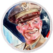Us General Dwight D. Eisenhower Round Beach Towel