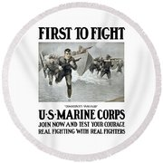 Us Marine Corps - First To Fight  Round Beach Towel