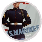 Us Marines - Ready Round Beach Towel