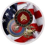 U. S. Marines Sergeant - U S M C Sgt Rank Insignia Over American Flag Round Beach Towel