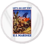 Us Marines - Ww2  Round Beach Towel