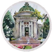 Us Naval Academy Chapel Round Beach Towel