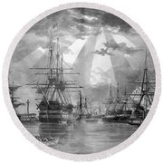U.s. Naval Ships At The Brooklyn Navy Yard Round Beach Towel