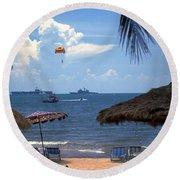 Us Navy Off Pattaya Round Beach Towel