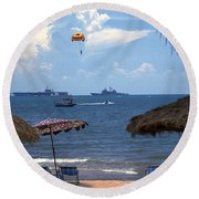 Us Navy Off Pattaya Round Beach Towel