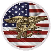 U.s. Navy Seals Trident Over U.s. Flag Round Beach Towel