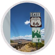 Us Route 66 Sign Arizona Round Beach Towel