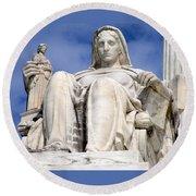 Us Supreme Court 7 Round Beach Towel by Randall Weidner