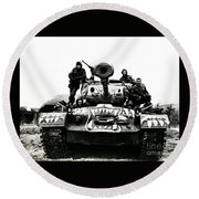 Round Beach Towel featuring the photograph U.s. Troops With Korean Tank 1951 by Peter Gumaer Ogden