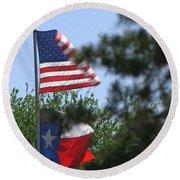 Usa Blesses Texas Round Beach Towel