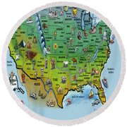 Usa Cartoon Map Round Beach Towel