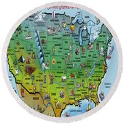Usa Cartoon Map Round Beach Towel