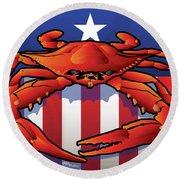 Usa Crab Round Beach Towel