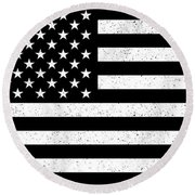 Round Beach Towel featuring the digital art Usa Flag Hidef Super Grunge Patina by Bruce Stanfield