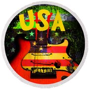 Round Beach Towel featuring the photograph Usa Guitar Music by Guitar Wacky