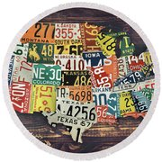 Round Beach Towel featuring the digital art Usa License Plates Map by Taylan Apukovska