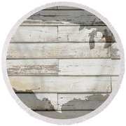 Usa Map Of America Outline On White Barn Wood Planks Round Beach Towel