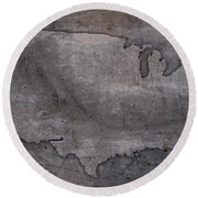 Usa Map Outline On Concrete Wall Slab Round Beach Towel