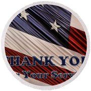 Round Beach Towel featuring the photograph Usa Military Veterans Patriotic Flag Thank You by Shelley Neff