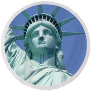 Usa, New York, Statue Of Liberty, Upper Section, Low Angle View Round Beach Towel