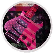 Round Beach Towel featuring the photograph Usa Pink Strat Guitar Music by Guitar Wacky