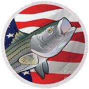 Usa Rockfish Striped Bass Round Beach Towel