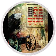 USA Round Beach Towel