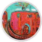Round Beach Towel featuring the painting Usa Steel Still Fascinates by Mary Carol Williams