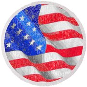 Round Beach Towel featuring the digital art Usa Usa Usa by Rafael Salazar