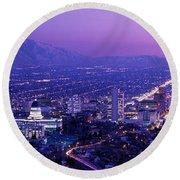 Usa, Utah, Salt Lake City, Aerial, Night Round Beach Towel