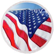 Usa,american Flag,rhe Symbolic Of Liberty,freedom,patriotic,hono Round Beach Towel by Jingjits Photography