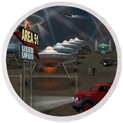 Area 51 Used U F O S Round Beach Towel by Mike McGlothlen