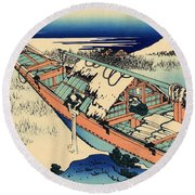 Ushibori In The Hitachi Province Round Beach Towel by Hokusai