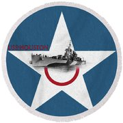 Round Beach Towel featuring the digital art Uss Houston by JC Findley