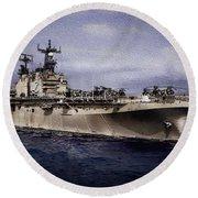 Uss Iwo Jima Lph2 Round Beach Towel