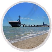 Uss Lexington Round Beach Towel