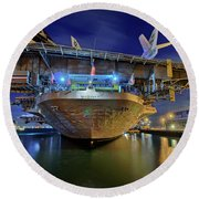 Uss Midway Aircraft Carrier  Round Beach Towel