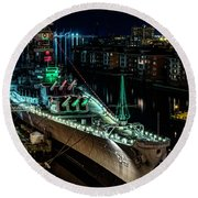Uss Wisconsin Round Beach Towel