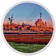 Uss York Town Round Beach Towel