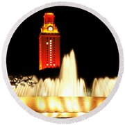 Ut Tower Championship Win Round Beach Towel by Marilyn Hunt