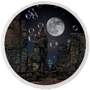 Utah Bubble Moon Round Beach Towel