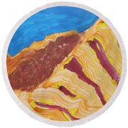 Round Beach Towel featuring the painting Utah  Canyons by Don Koester