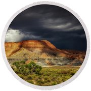 Utah Mountain With Storm Clouds Round Beach Towel by John A Rodriguez