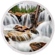 Utah Waterfall Round Beach Towel